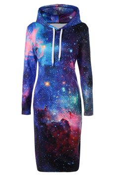 $21.33 Drawstring Hooded 3D Galaxy Print Dress
