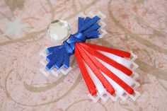 Red White and Blue Angel Plastic Canvas Pin by KKsCandlesLLC