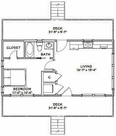 32x16 House -- 1 Bedroom 1 Bath -- 516 sq ft -- PDF Floor Plan -- Model 2C | eBay
