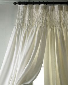 "Pom Pom at Home Each 42""W x 96""L Smocked Linen Curtain - Horchow"