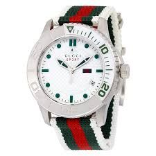 50432a02398 Gucci Men s G-Timeless Dive Stainless Steel Watch with Nylon Strap - of the  week sign