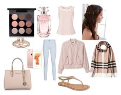 """ROSE GOLD"" by aamna16 ❤ liked on Polyvore featuring MAC Cosmetics, Elie Saab, Michael Kors, REGALROSE, Bliss Diamond, Burberry, Chinese Laundry, 7 For All Mankind and Jacques Vert"