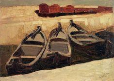 """Lorenzo Viani [Viareggio (Lu) 1882 - Ostia (Roma) 1936], """"Scalo dei renai (barconi), 1932. Olio su compensato, cm. 60x84,5 Firma e data in basso a destra: Lorenzo Viani 1932. collezione privata. Casa d'aste Farsettiarte"""