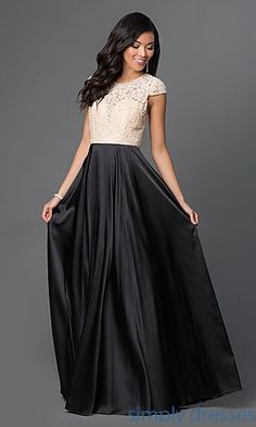 Shop long formal dresses with lace bodices and satin skirts at Simply Dresses. Cap-sleeve evening gowns and formal evening dresses under $200.
