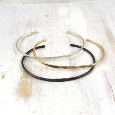 Image of thin simple forged cuff bracelet