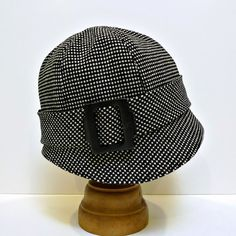Black and White Wool Women's Hat  1920s Cloche  by HatsWithAPast, $75.00