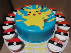 Maybe these cupcakes with the other dark blue cake :/ don't know lol Set includes: 1 PIKACHU 12 dozen) pokeballs cupcake toppers 6 mini lightning bolts Pikachu measures inches each pokeball measure Fondant Cakes, Cupcake Cakes, Cupcake Toppers, Pokemon Cake Topper, Pokemon Cakes, Pikachu Cake, Pokeball Cake, Pokemon Party, Lego Pokemon