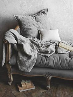 Grey daybed - would probably throw some colorful pillows on it, and get some color on the wall for contrast - But it just looks super comfy Grey Palette, Sofa Couch, Interiores Design, Shades Of Grey, Gray Color, Sweet Home, Shabby Chic, House Design, Handmade Home Decor