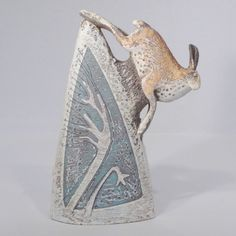 Hare with Trees and Flowers, sculpture by Blandine Anderson - Pyramid Gallery - Hare with Trees and Flowers