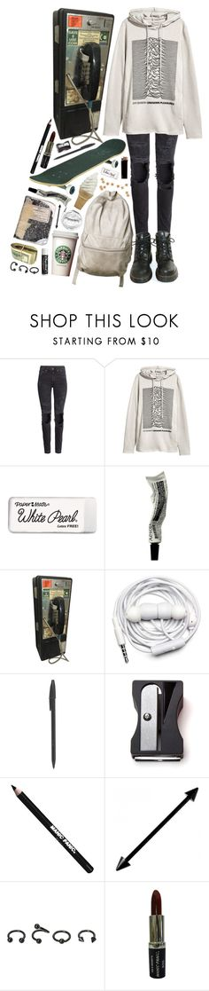 """""""1506"""" by anastaziah2014 ❤ liked on Polyvore featuring H&M, Dr. Martens, GAS Jeans, Paper Mate, Aesop, Urbanears, Monkey Business, Manic Panic NYC, Chapstick and Hot Topic"""
