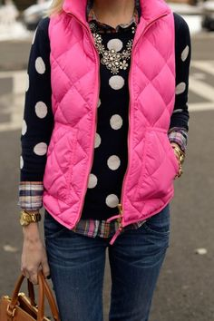HOT PINK VESTS, POLKA DOT SWEATERS AND BLING