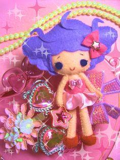 Felt doll with crazy purple hair! <3