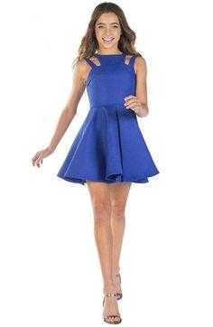 fbc82bc4b1103 12 Yaş Abiye, Mezuniyet Elbise Modelleri Saks Mavi Kısa Kloş Etek Omzu Açık  Çift Askılı