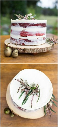 Red velvet, wedding cake, naked, cream cheese frosting, gold-dipped pears // Johanna Kitzman Photography