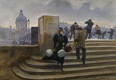 """JEAN BERAUD (1849-1936)   """"Modiste Sur Le Pont Des Arts""""."""