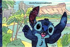 Glittery Stitch by dontchawannadream #collage #drawing #sketchbook #stitch #disney #hawaii