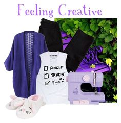 """""""Feeling Creative"""" by artisticvision ❤ liked on Polyvore featuring J Brand, purple, tanktop, creative, tacos and sewing"""