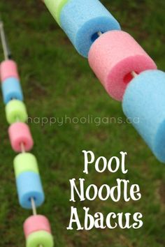 pool noodle abacus (happy hooligans) just a starting idea shows various ways the children are adapting for use