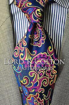 Lord R Colton Masterworks Tie - Pisaq Sapphire Blue Silk Necktie - $195 New