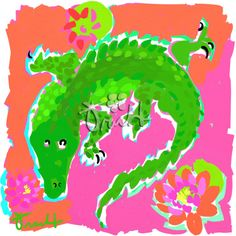 Art Print 11x14 Pink and Green Gator Alligator by by trachtart