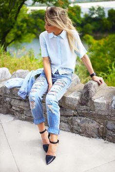button up short sleeve blouse with ripped boy friend jeans and heels