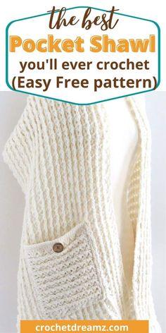 Poncho Au Crochet, Pull Crochet, Crochet Wrap Pattern, Crochet Shawls And Wraps, Crochet Scarves, Crochet Clothes, Crochet Stitches, Knit Crochet, Free Crochet Shawl Patterns