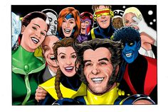 X-Men group selfie a la the Oscars 2014 by Kevin Maguire