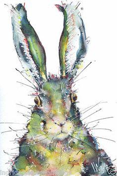 Rabbit Original Watercolour Painting by Ingrid Wheel | eBay