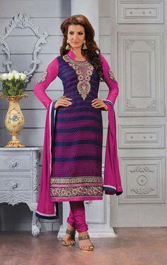Purple pakistani punjabi salwar kameez in brasso D15418