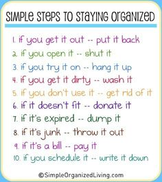 Simple steps for staying organized
