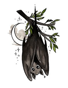 Beautiful watercolors by one of my favorite. Halloween Drawings, Halloween Art, Animal Drawings, Art Drawings, Desenhos Halloween, Dessin Old School, Witch Drawing, Petit Tattoo, Cute Bat