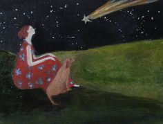 Brown dog and the Comet original oil painting on by EverywomanArt, $75.00