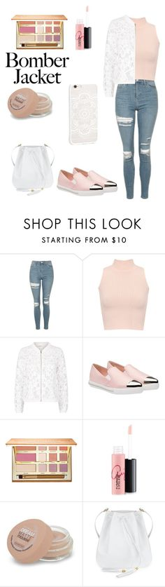 """""""Untitled #41"""" by ctofan ❤ liked on Polyvore featuring Topshop, WearAll, Maje, Miu Miu, tarte, MAC Cosmetics, Maybelline, JFR and bomberjackets"""