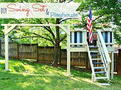 diy swing set and playhouse