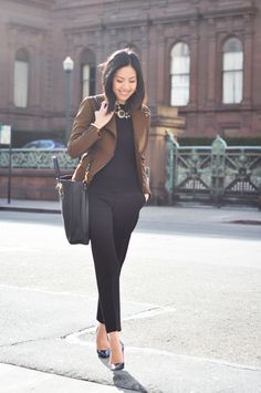 I like this kind of jacket for work better than standard blazer.  From 9to5Chic blog.