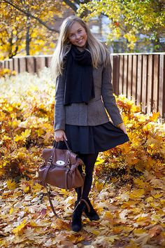 Cute grey autumn #outfit with skirt and tights. #teen #fashion