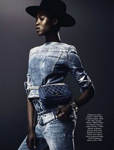 radical denim: ataui deng and alima fofana by vanmossevelde+n for glamour france june 2013 | visual optimism; fashion editorials, shows, campaigns & more!