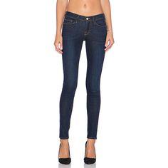 FRAME Denim Le Skinny de Jeanne Denim ($199) ❤ liked on Polyvore featuring jeans, frame denim, frame denim jeans, super skinny jeans, skinny jeans and frayed jeans