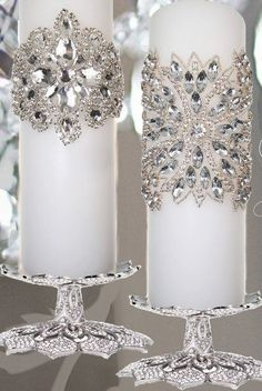 Dreaming of a White Christmas / karen cox. Rhinestone Candle Wraps Dreaming of a White Christmas / karen cox. Silver Christmas, Christmas Colors, Christmas Wedding, All Things Christmas, Xmas, Victorian Christmas, Vintage Christmas, Christmas Candle Decorations, Christmas Candles