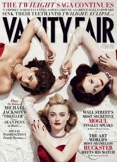The Reinterpretation: Dakota Fanning, Ashley Greene and Bryce Dallas Howard photographed by Norma Jean Roy for Vanity Fair UK July 2010