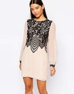 Lipsy   Lipsy Swing Dress With Lace Front Detail at ASOS