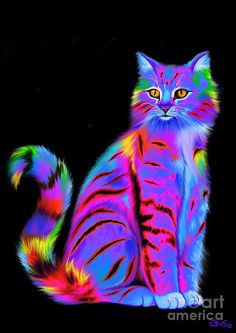 Colorful Fluffy Striped Cat Painting