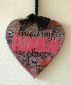Happy place wooden decorsted heart - Pienuts