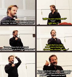 Richard Speight Jr. about Jared: ''You genetic freak! I was polite with you being tall, I can deal with you being handsome, but perfect hair? Damn you to hell!''
