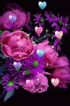 FLOWER LOVE ~^~^~^~^ Beautiful Flowers Wallpapers, Beautiful Gif, Pretty Wallpapers, Beautiful Roses, Lit Wallpaper, Heart Wallpaper, Butterfly Wallpaper, Flowers Gif, Love Flowers