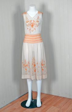 1920's Bohemian Embroidered Cotton Flapper Boho Day Dress