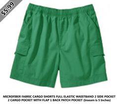 Microfiber fabric cargo shorts full elastic waistband 2 side pocket 2 cargo pocket with flap 1 back patch pocket (inseam is 5 inches) Back Patch, Scrubs, Bermuda Shorts, Pocket, Fabric, Swimwear, Fashion, Tejido, Bathing Suits