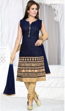 Navy Blue Color Art Silk Ready Made Churidar Suit | FH409366048
