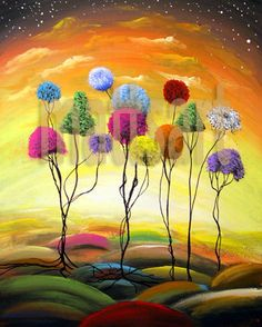 13 x 19 print lollipop tree fun happy children art by mattsart,