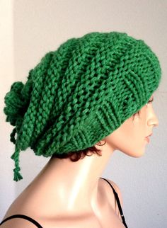 Women's Handmade/ Knitted Green Slouchy Beanie by Africancrab, $15.00